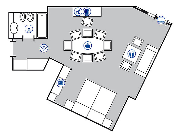 Room floor plan Junior suite | Maritim Hotel Würzburg