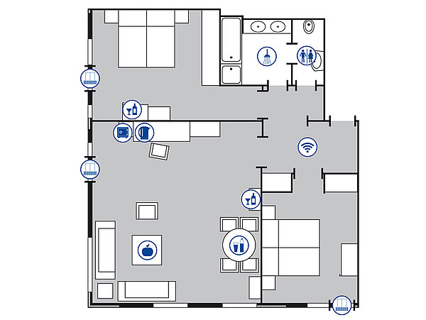 Room floor plan Grand suite | Maritim Hotel Bellevue Kiel