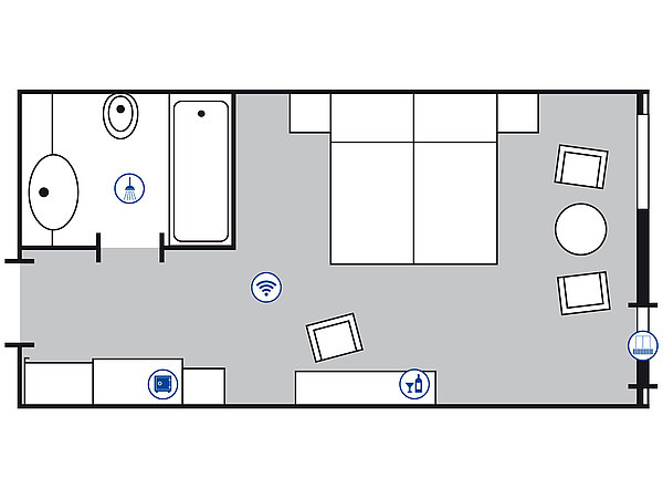 Room floor plan Comfort room | Maritim Hotel Gelsenkirchen