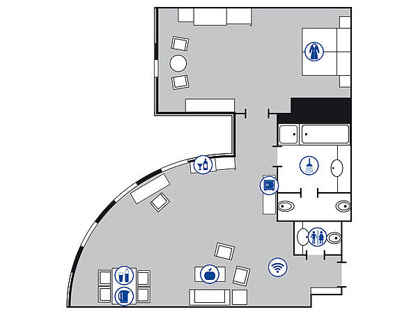 Room floor plan Luxury suite | Maritim Hotel Magdeburg