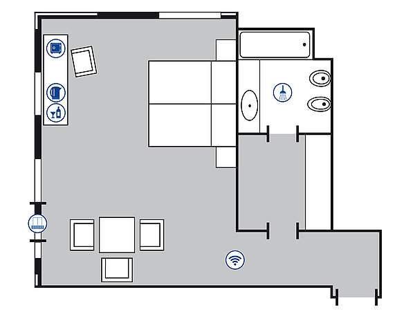 Room floor plan Comfort room | Maritim Hotel Bellevue Kiel