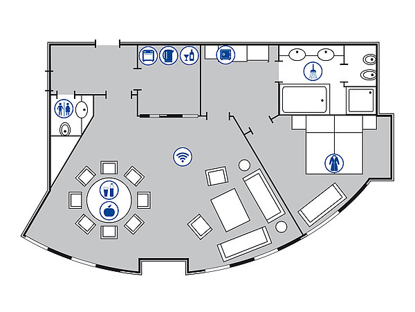 Room floor plan Luxury suite | Maritim Hotel Bonn