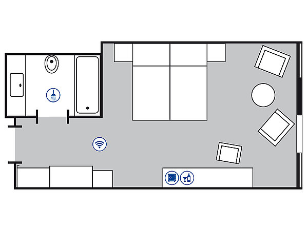 Room floor plan Superior room | Maritim Hotel Köln