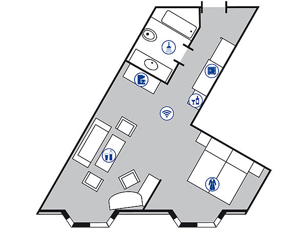 Room floor plan Studio | Maritim Hotel Bad Homburg