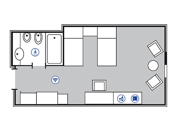 Room floor plan Comfort room | Maritim Hotel Bonn