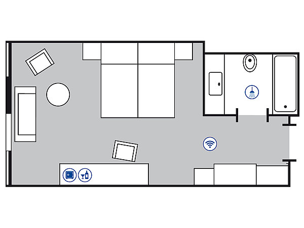 Room floor plan Comfort room | Maritim Hotel Köln