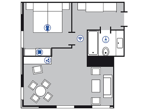 Room floor plan Senior suite | Maritim Hotel Köln
