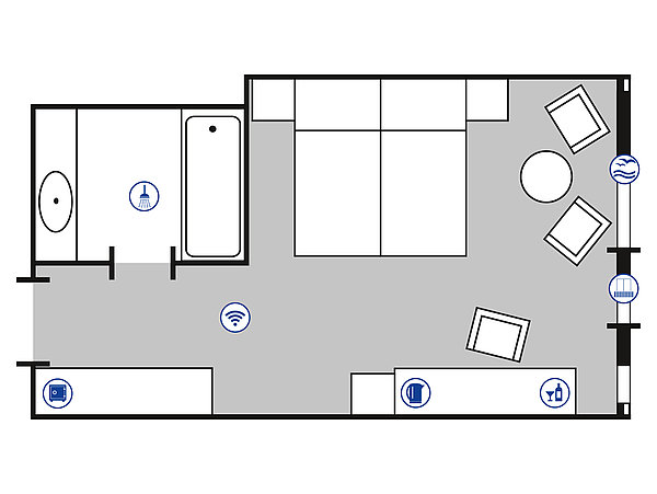 Room floor plan Superior room | Maritim Hotel Bellevue Kiel