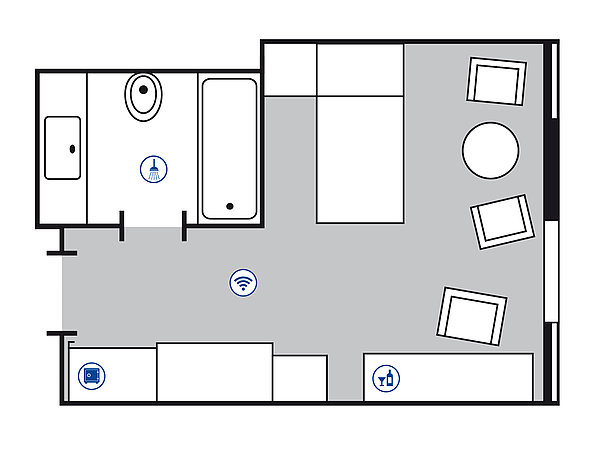 Room floor plan Classic room | Maritim Hotel Köln