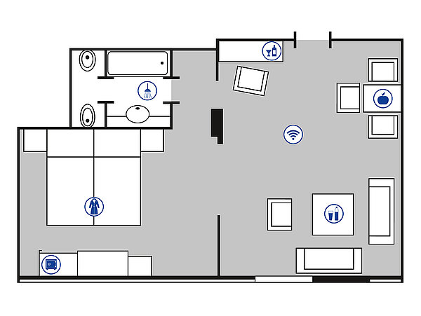 Room floor plan Mahagony Suite | Maritim Hotel Bad Wildungen